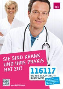 Plakat mit der Nummer des ärztlichen Bereitschaftsdienstes: 116 117.
