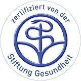 Logo der Stiftung Gesundheit mit Aufschrift: Zertifiziert von der Stiftung Gesundheit.